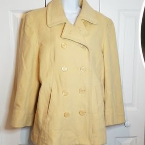 Jones New York Wool Butter Yellow Pea Coat Sz 14